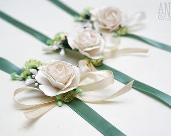 Bridal bracelet, bridesmaid bracelet, floral flower green color, brown bracelet, wrist bridesmaid gift, natural, flower wedding accessories