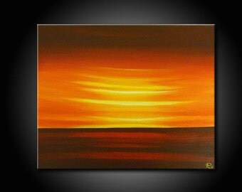 Original, PAINTING on Boxed Canvas, ORANGE, RED, landscape, sunset, sunrise, Wall Art, Modern, Contemporary