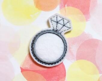 Ring Feltie, Diamond Ring, Engagement Feltie, Felt Applique, Embroidered Applique, Hair Bow Supply