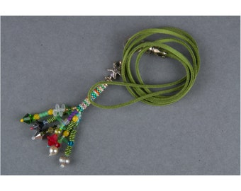 Necklace, tassel, tassel, multi colored, boho, bohemian, hippie, necklace, beads, pearls, jewelry, Charmkette, long chain, beadwork, necklace