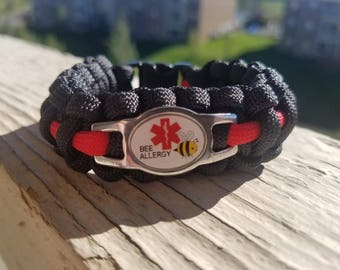 Bee allergy medical alert paracord bracelet