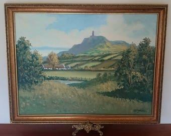 JJ O'Neil Irish oil painting of scrabo tower northern Ireland