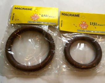 Vintage Macrame Wooden Rings - Walnut
