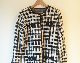 Vintage St Michael M&S Dogtooth Jacket / Cardigan Size 12