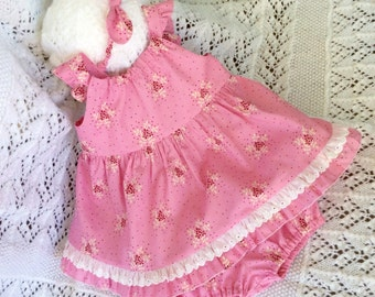 3 piece baby girl set, Baby frilly bloomers set, pink frills, yellow frills.