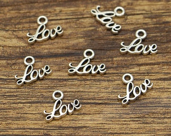 100pcs Love Charms Word Charms Antique Silver Tone 13x10mm CF2924