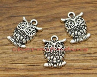 20pcs Owl Charms Bird Charm Antique Silver Tone Charm 17x12mm cf1282