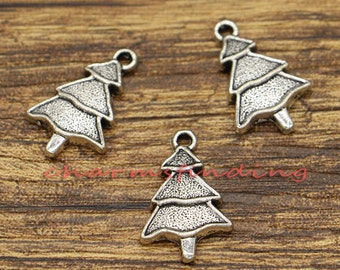 20pcs Christmas Tree Charms Holiday Charms Evergreen Charms Antique Silver Tone 14x22mm CF1299