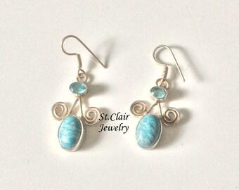 Silver earrings, Larimar blue Topaz earrings, Boho earrings, hippie earrings, genuine silver