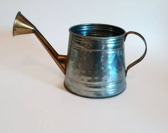 Rustic Watering Can   Tin and Brass Vintage Watering Can