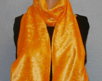 Bright Orange Crushed Velvet Scarf 15 cm x 150 cm Women's / Ladies Lovely Soft And Warm Great Accessory Gift