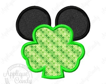 Mr Mouse Shamrock Applique Machine Embroidery Design 4x4 5x7 6x10 St Patrick's Day INSTANT DOWNLOAD