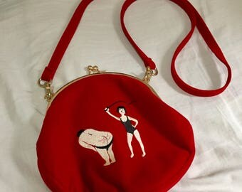Red cute crossbody kiss lock small embroidered bag