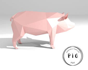 Printable DIY template (PDF).  Pig low poly paper model. 3D animal paper sculpture. Origami.