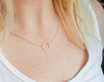 Sterling Silver Circle Necklace, Silver Ring Necklace, Silver Eternity Necklace, Simple Silver Necklace, Delicate Silver Necklace