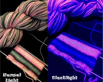 Barbie's Goth Phase: Hand Dyed Self Striping Gradient Blacklight Sock Yarn