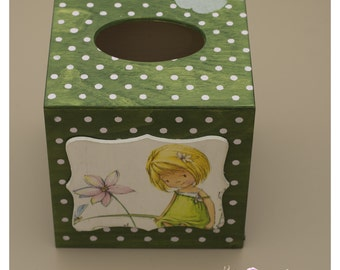 Tissue box with girl and silver butterfly, green with pink dots