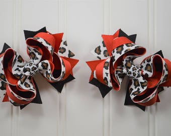 Leopard Print Pigtail Set - Leopard Print - Pigtail Bows - Pigtail Sets - Boutique Bows - Boutique Hair Bows - Stacked Hair Bows - Hairbows