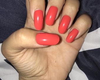 Pink glossy acrylic nails