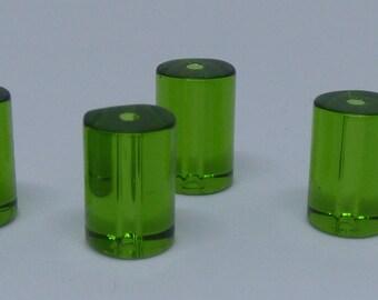 Green Glass Tubular Beads