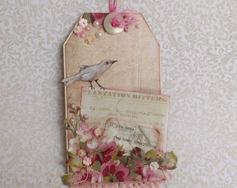 Vintage style cottage chic Romantic wall hanging assemblage Art Collage Bird