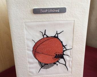 Machine embroidered Birthday card male dad teen boy