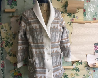 Vintage 1970s Polyester Aztec Printed Cardigan. Medium/Large. JcPenney. Tan, white, button up, cowl collar.