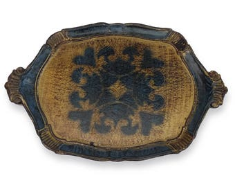 Florentine Gold Gilded and Blue Drinks Tray, Italian Serving Tray 1950s