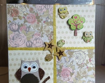 Owls and trees blank greetings card