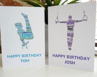 Personalised Male Gymnast Card, Personalised Birthday Card, Personalised  Card, Male Gymnast Card