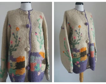 15% Spring Sale Vintage HANDMADE - HAND KNITED Wool Sweater/ Novelty Jacket/