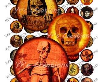 SPOOKY HALLOWEEN 1 inch circle Digital Download - Art for Pendants, Magnets, Bottle Caps, Buttons, Mixed Media and Crafts
