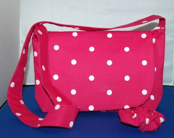 Children's Magenta Spot Messenger & Shoulder Bag With Scrunchie To Match Handmade
