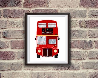 London bus, routemaster, red bus, instant download, printable art, wall decor, British style, classic bus
