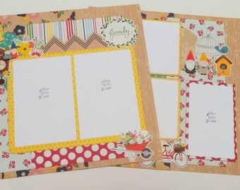 2-Page 12x12 Premade Scrapbook Layout, Spring Family