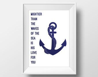 Navy Nursery Print, Anchor Nursery Print, Navy Nursery Quote, Anchor Nursery Quote, Bible Quote, Bible Nursery Quote, Bible Nursery Print