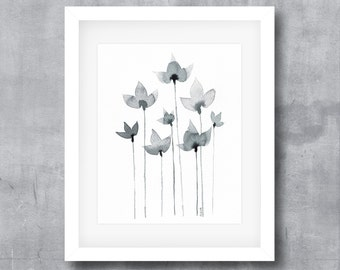 Watercolor Print, Black and White, Floral Watercolor, Floral Print, Printable, Instant Digital Download, Home Decor, Minimalist, Modern Art