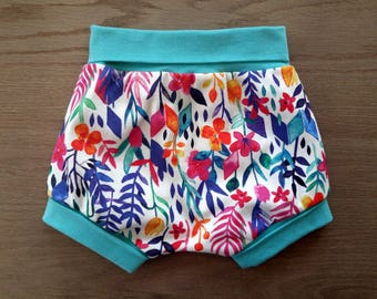 shortie, grow with me shortie, flowers, girly, organic cotton, baby pants