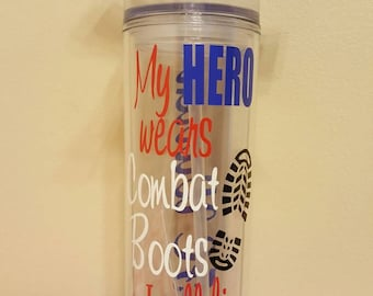Skinny tumber!  My HERO wears Combat boots I call him *enter title enter* *Name on back*