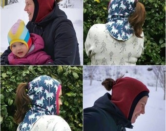 Adult Coif hood,with bonus Knight,animal ear add ons,MotherGrimm PDF pattern & tutorial, warm hat pattern,Instant download,bun hole hat