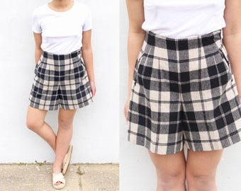 Super High Waist Plaid Wool Shorts Tartan Shorts