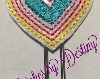 Embroidered Heart Shaped rainbow Paperclips