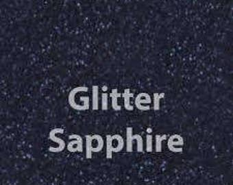 "12"" X 15"" or 12""x 20"" Sapphire Blue Glitter HTV Sheets | High Quality Heat Transfer Vinyl | DIY Tee Shirt"