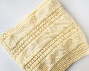 Hand knit cream colored baby blanket afghan