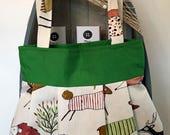 Hedgehog Pleated Sybil Tote BagWoodland Animal Fabric Tote BagFox Hedgehog Deer fabric Tote bag Pleated Handbag Ladies Tote Bag