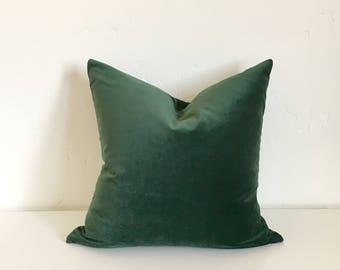 20X20 Emerald Green Velvet Exposed Brass Zipper Pillow Cover