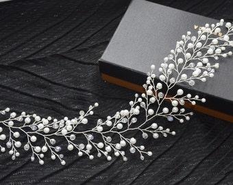 Bridal hair vine Bridal hair piece Wedding hair accessory babies breath wedding hair vine pearl crystal hair vine Gyp hair vine boho