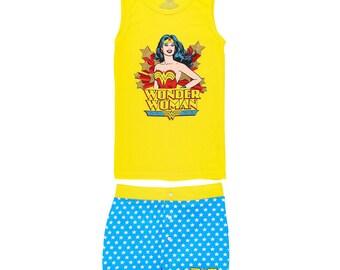 Supergirl Wonder Woman Pajama Set