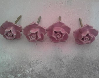 Ceramic Vintage Rose Drawer Knob Pulls Pink Door Bedroom Cupboard Handles Knobs Shabby Chic