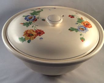 Vintage Oven Proof Stoneware Casserole Dish with Flower Design